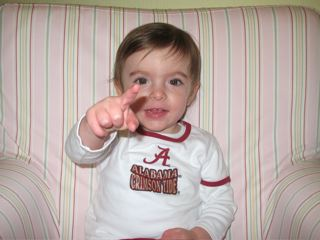 Savannah says, 'Roll Tide!  Alabama is No. 1'