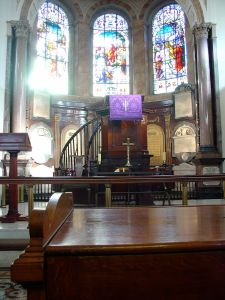 Interior of Wesley's Chapel with Wesley's Pulpit