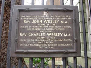 A plaque erected by the International Methodist Union, supposedly near the site of the house.