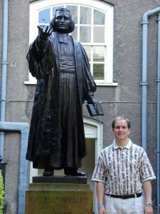 Me with Charles Wesley, whose house is in Bristol - we didn't go there. I doubt he would have been home anyway.