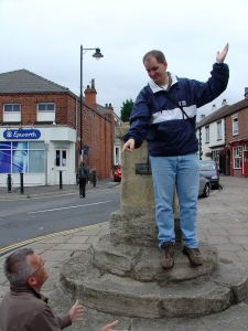 At the Market Cross, where John preached many sermons, and me preaching to a very repentant David