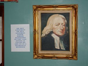 John Wesley says, 'No Underage Drinking!' (also in the Red Lion pub)