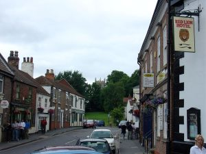 Epworth Town Centre leading the way to St. Andrews (also, with the Red Lion Pub, where Wesley stayed in later visits)
