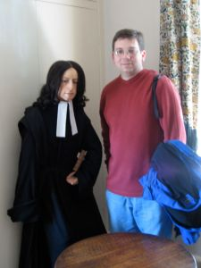A life size figure of John Wesley, standing beside Mike (John is the one on the left)