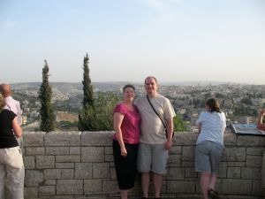 Me and April stand in front of the Holy City of Jerusalem